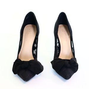 LAUREN CONRAD Snapdragons Black Heels with Lace